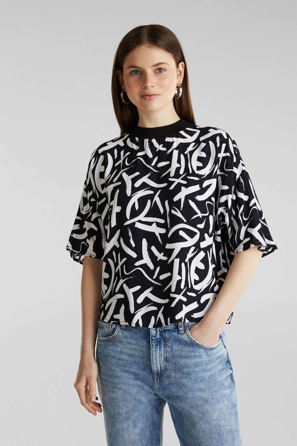 Crêpe blouse made of LENZING™ ECOVERO™, BLACK 3, detail image number 0