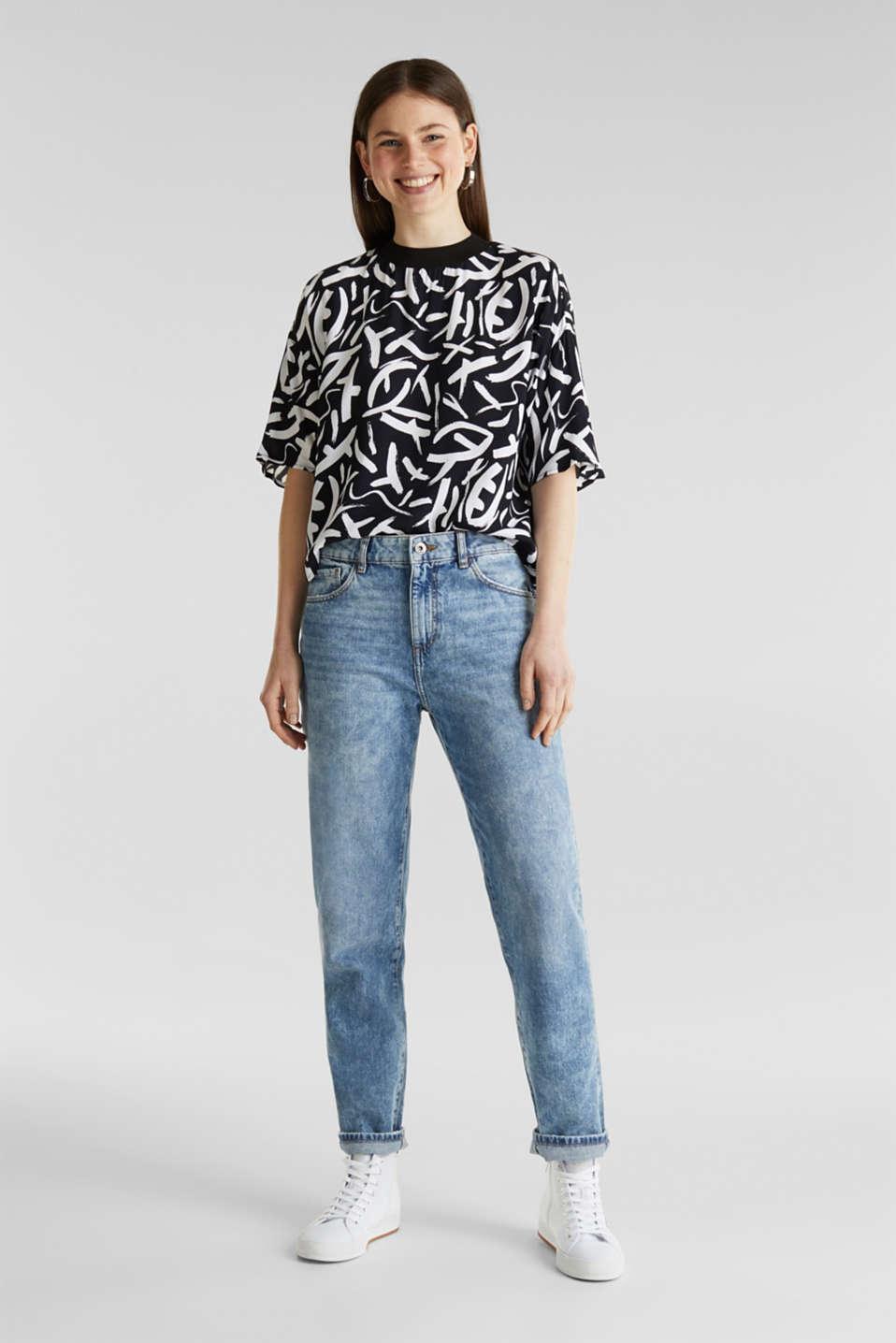 Crêpe blouse made of LENZING™ ECOVERO™, BLACK 3, detail image number 1