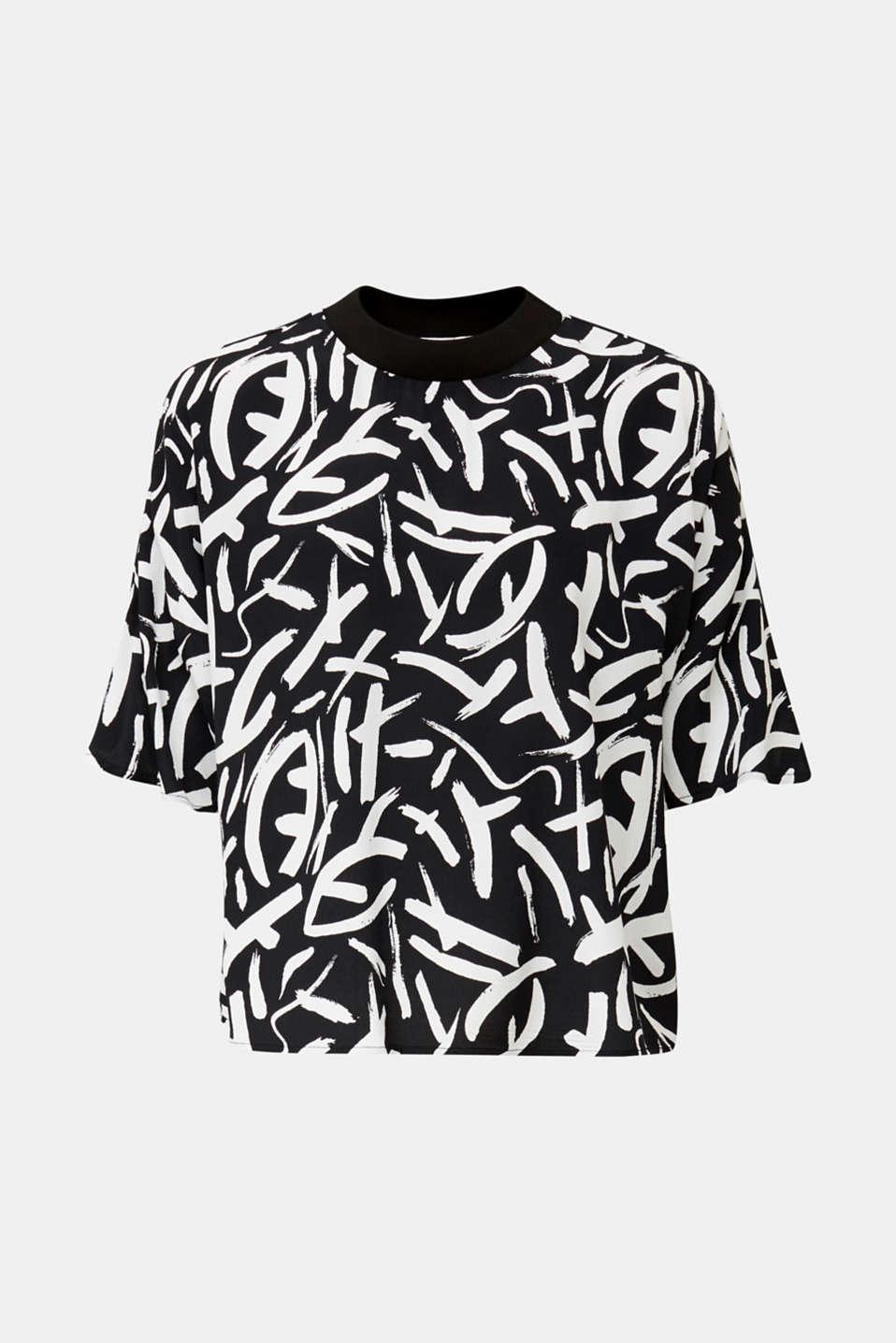 Crêpe blouse made of LENZING™ ECOVERO™, BLACK 3, detail image number 5