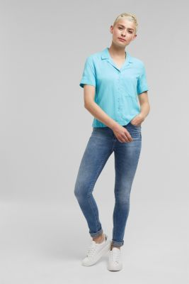 Blouse made of LENZING™ ECOVERO™, TURQUOISE, detail
