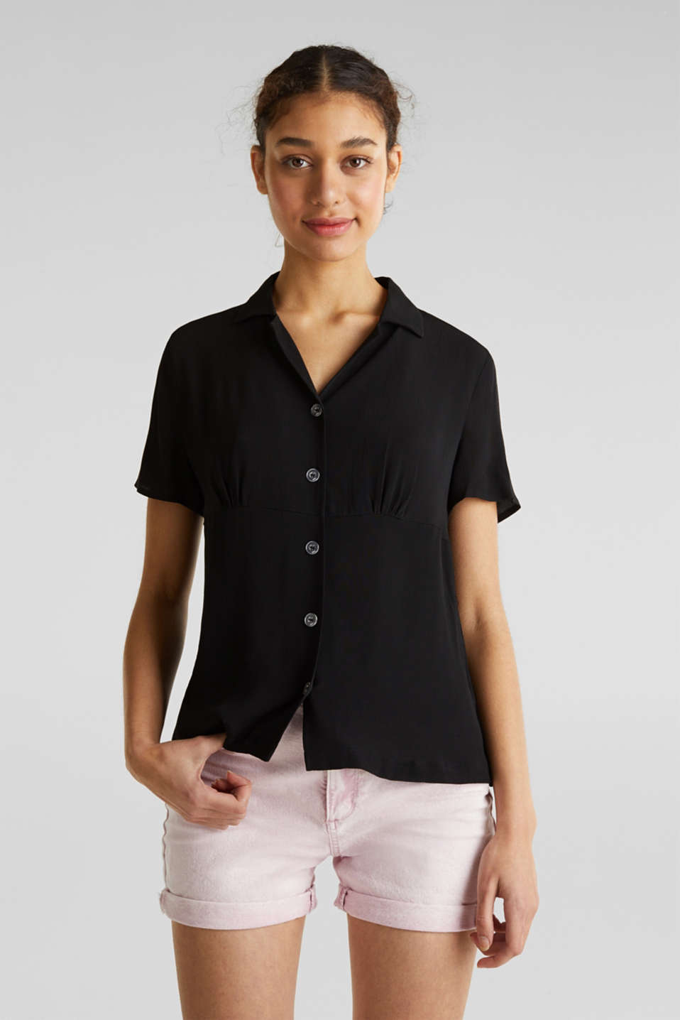 Blouse, LENZING™ ECOVERO™, BLACK, detail image number 0