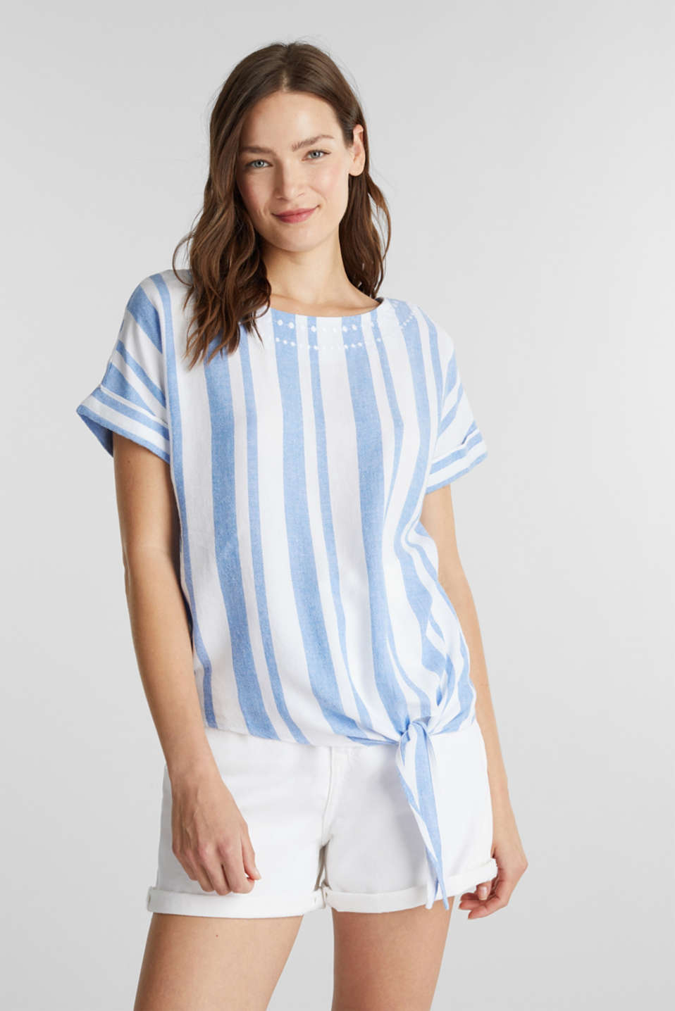 With linen: blouse with a knotted detail, LIGHT BLUE, detail image number 0