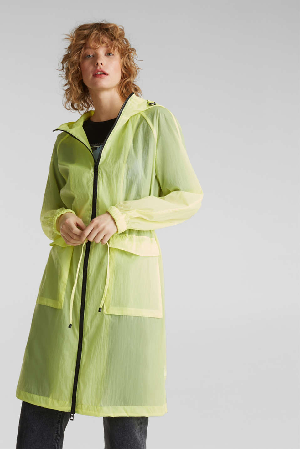 NEON ultra light long parka, LIME YELLOW, detail image number 0