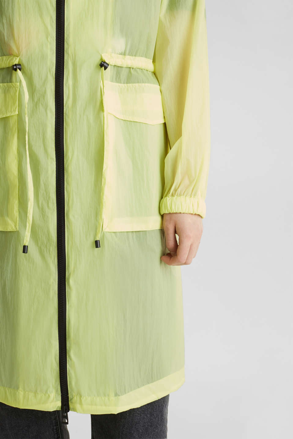 NEON ultra light long parka, LIME YELLOW, detail image number 2