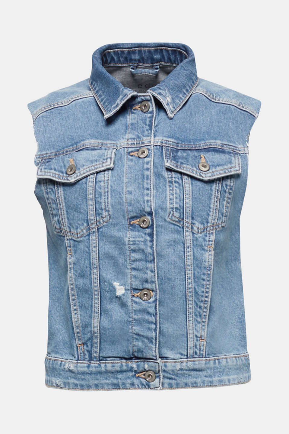 Organic cotton denim waistcoat, BLUE MEDIUM WASH, detail image number 7