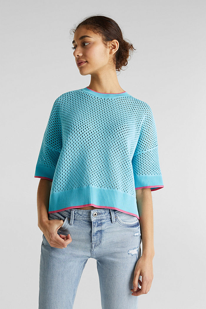 Transparenter Pullover mit Lochmuster, TURQUOISE, detail image number 0