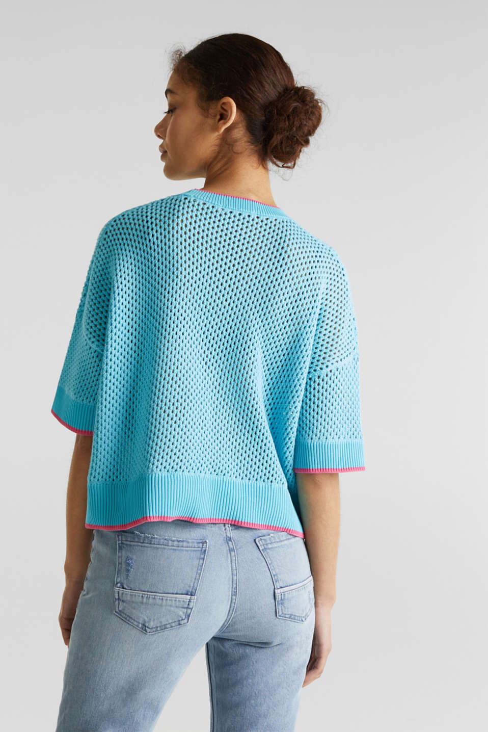 Cape jumper with an open-work pattern, TURQUOISE, detail image number 3