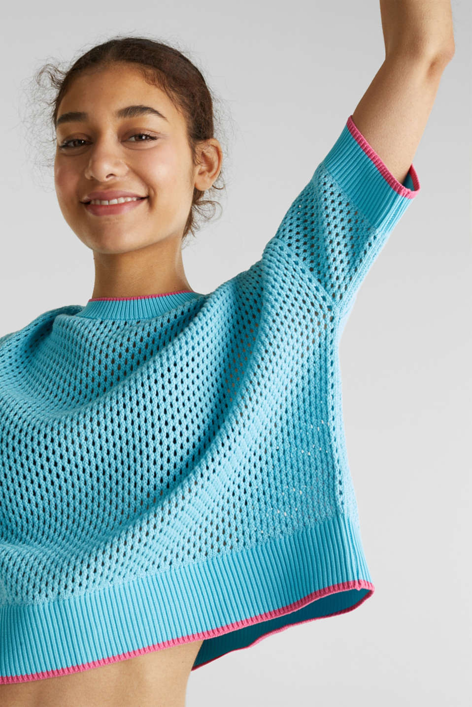 Cape jumper with an open-work pattern, TURQUOISE, detail image number 5