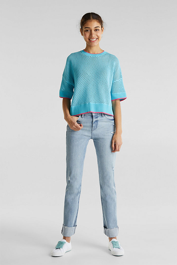Transparenter Pullover mit Lochmuster, TURQUOISE, detail image number 1