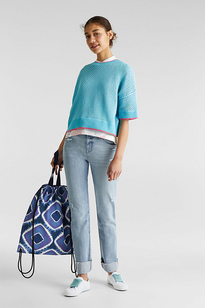 Transparenter Pullover mit Lochmuster, TURQUOISE, detail image number 7