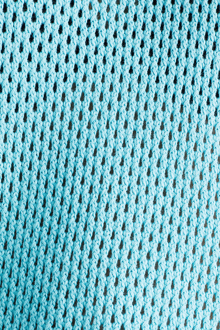 Transparenter Pullover mit Lochmuster, TURQUOISE, detail image number 4