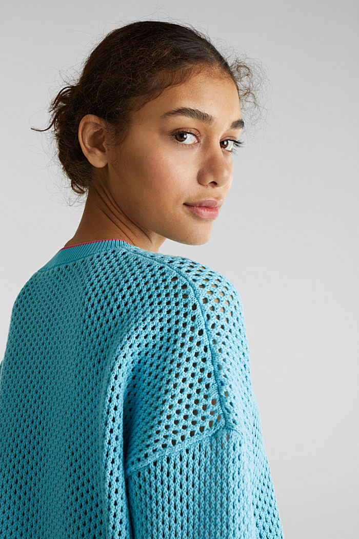 Sheer jumper with an open-work pattern, TURQUOISE, detail image number 6