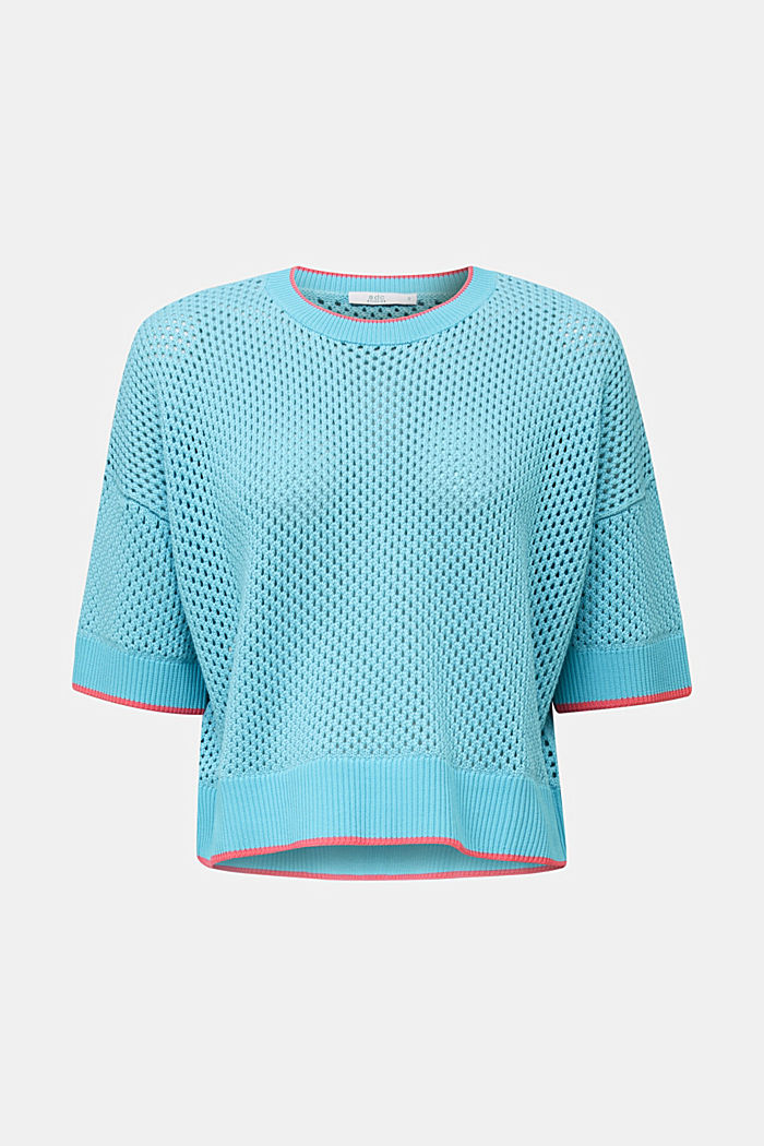 Transparenter Pullover mit Lochmuster, TURQUOISE, detail image number 8