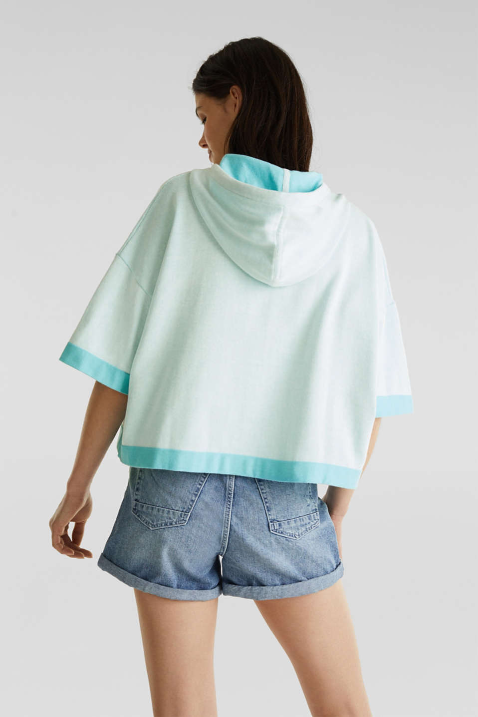 Knitted hoodie in 100% cotton, TURQUOISE, detail image number 3