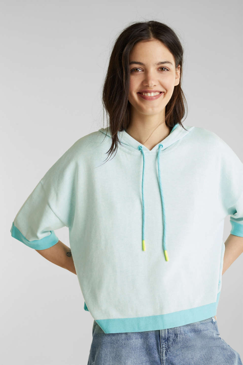 Knit hoodie, cotton, TURQUOISE, detail image number 5