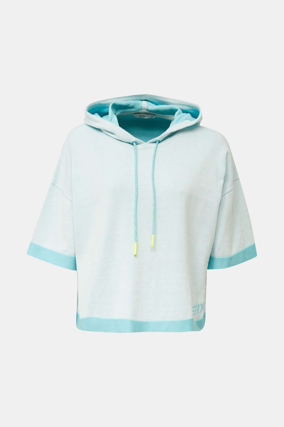 Knitted hoodie in 100% cotton, TURQUOISE, detail image number 6
