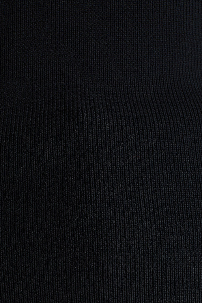 Stand-up collar jumper, BLACK, detail image number 3