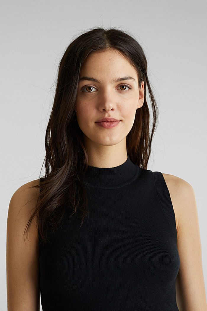 Stand-up collar jumper, BLACK, detail image number 4