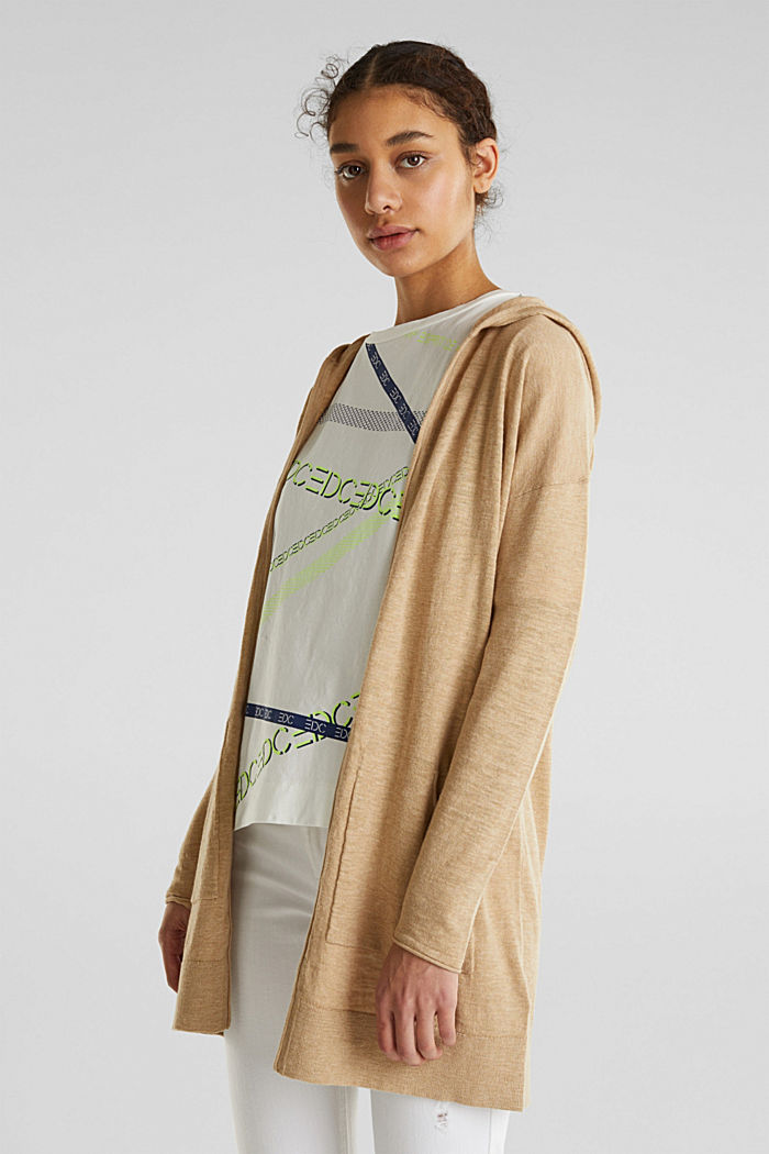 Cardigan, 100% cotton, LIGHT BEIGE, detail image number 0