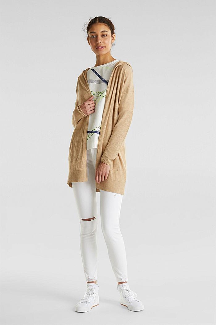 Cardigan, 100% cotton, LIGHT BEIGE, detail image number 1