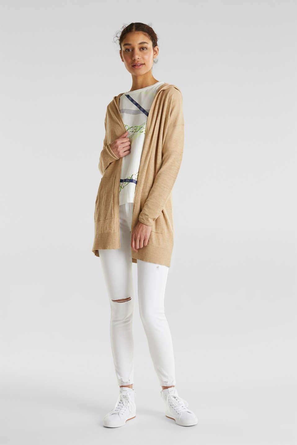 Cardigan, 100% cotton, LIGHT BEIGE 5, detail image number 1