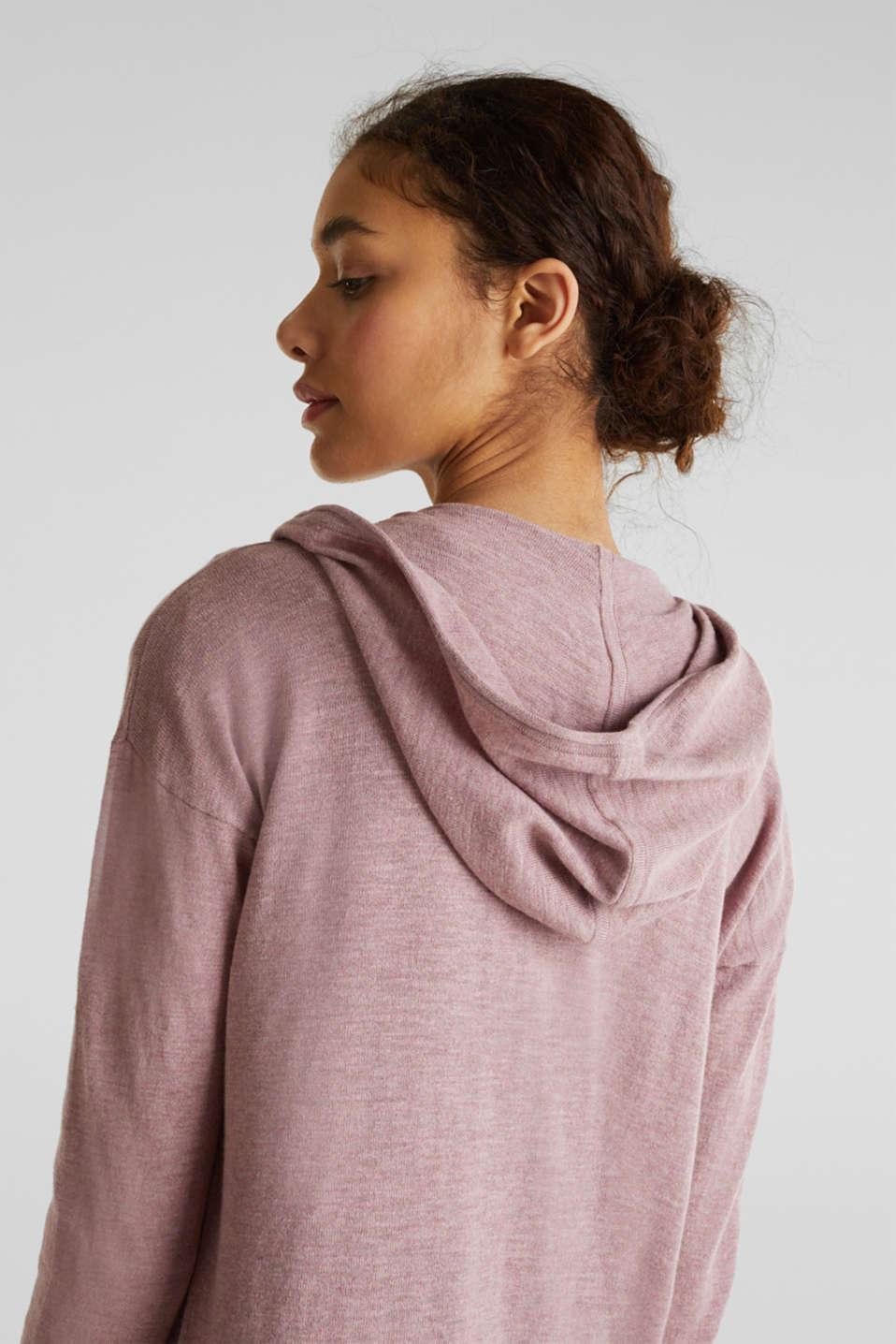 Cardigan, 100% cotton, MAUVE 5, detail image number 2