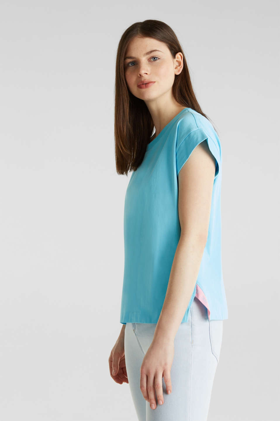 Loose-cut top, TURQUOISE, detail image number 4