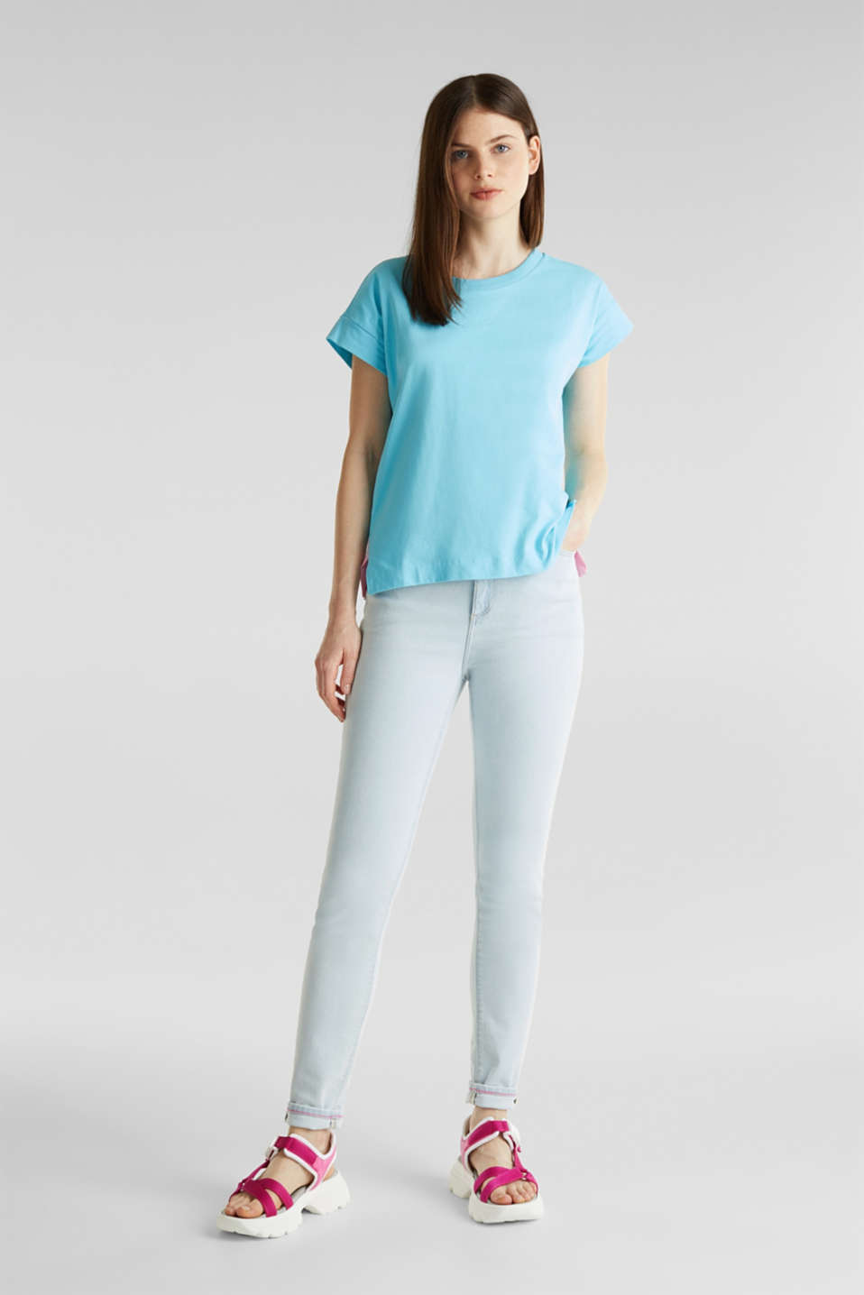Loose-cut top, TURQUOISE, detail image number 1