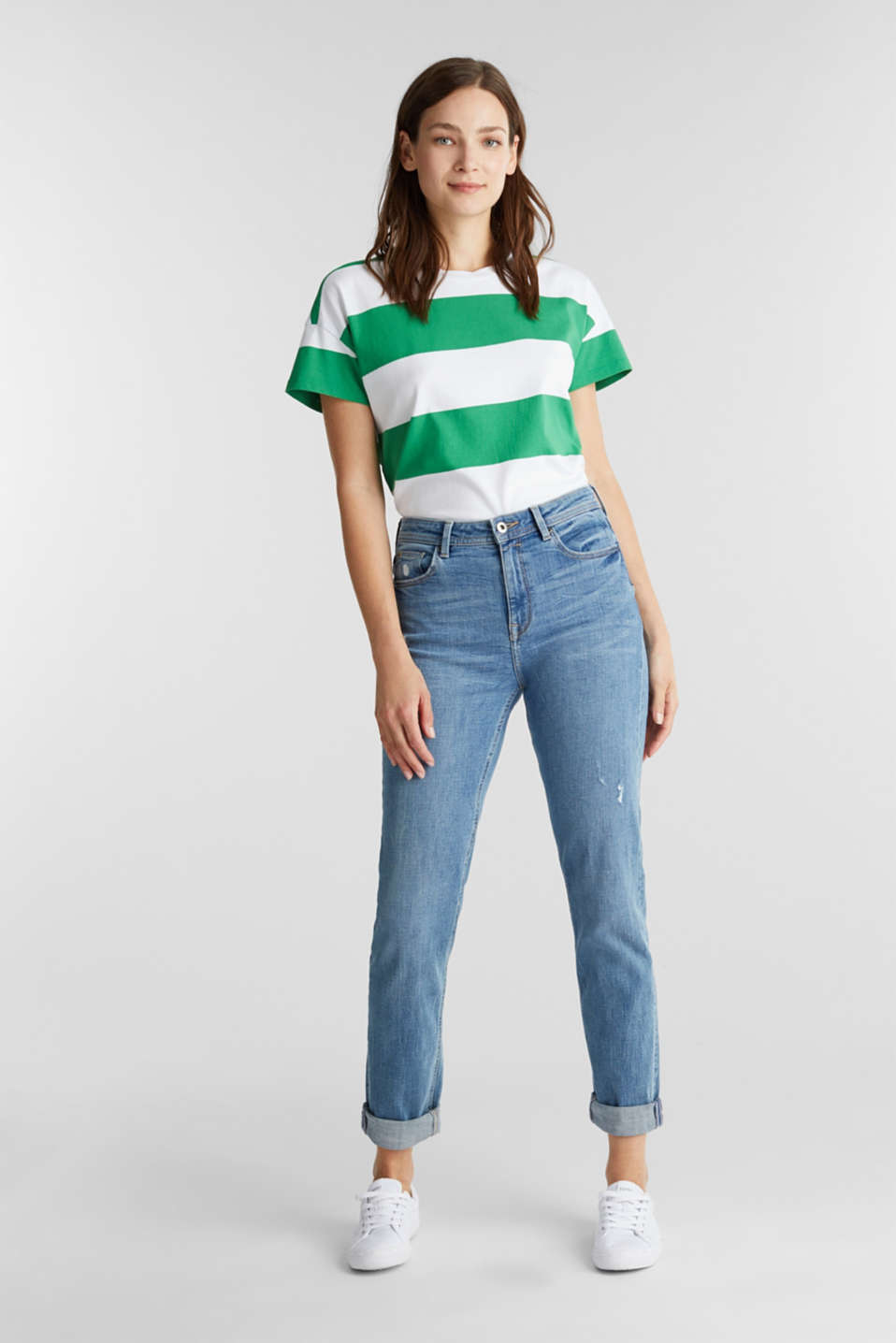 T-shirt with block stripes, 100% cotton, GREEN, detail image number 5