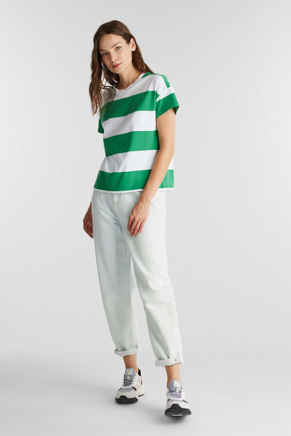 T-shirt with block stripes, 100% cotton, GREEN, detail image number 1