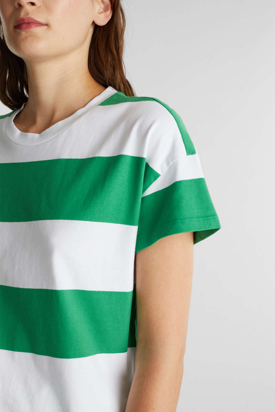 T-shirt with block stripes, 100% cotton, GREEN, detail image number 2