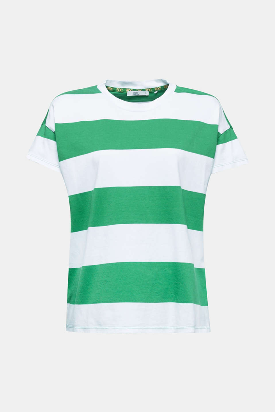 T-shirt with block stripes, 100% cotton, GREEN, detail image number 8