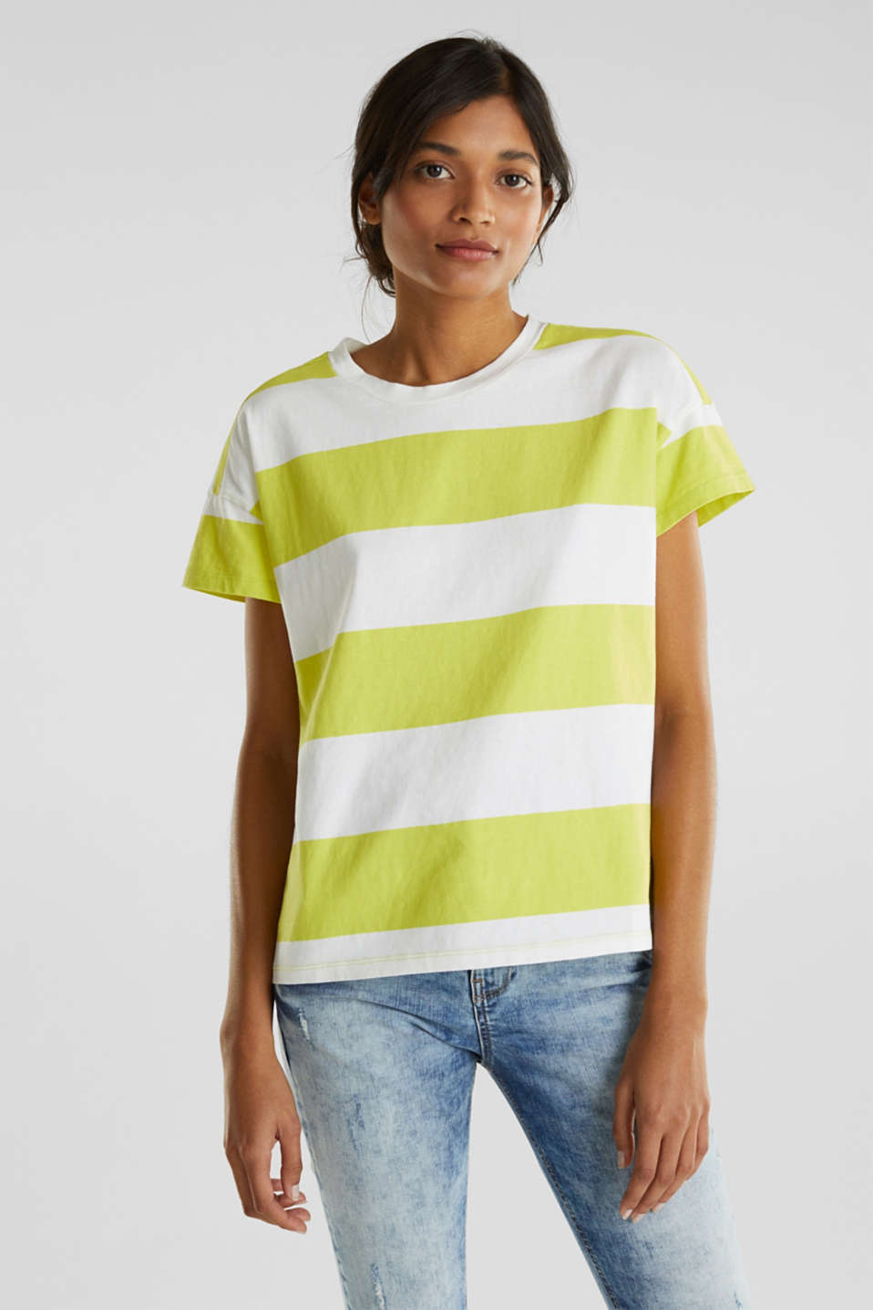 edc - T-shirt with block stripes, 100% cotton