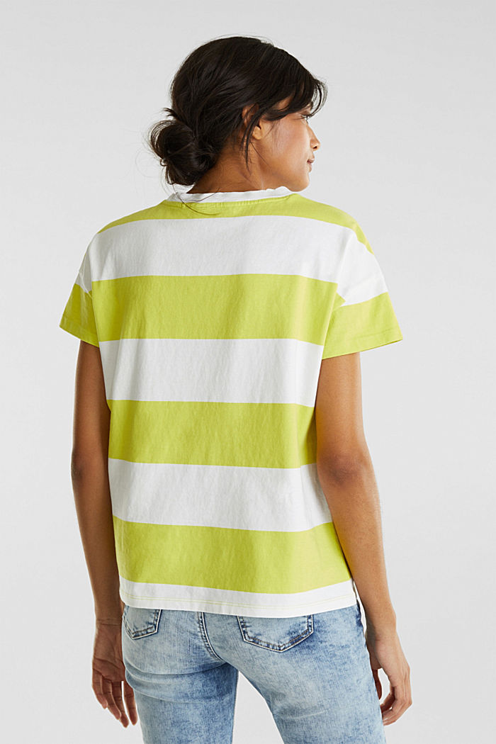 T-shirt with block stripes, 100% cotton, CITRUS GREEN, detail image number 3