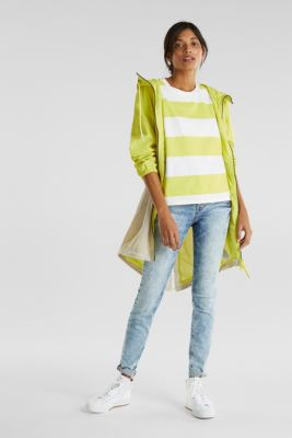 T-shirt with block stripes, 100% cotton, CITRUS GREEN, detail