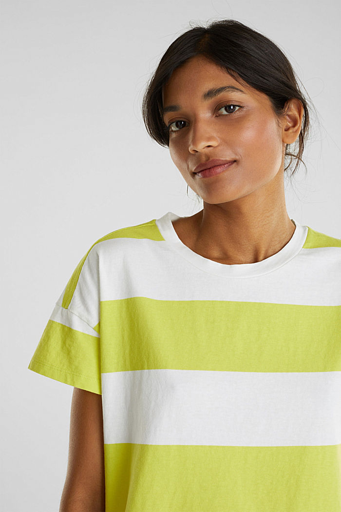 T-shirt with block stripes, 100% cotton, CITRUS GREEN, detail image number 2