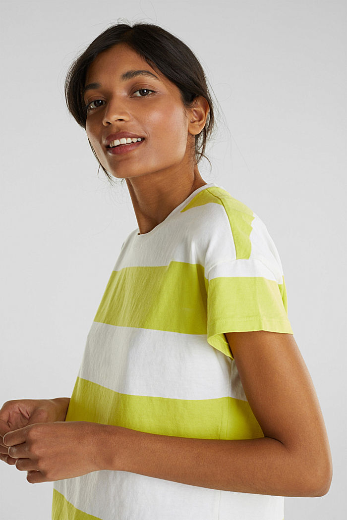 T-shirt with block stripes, 100% cotton, CITRUS GREEN, detail image number 5