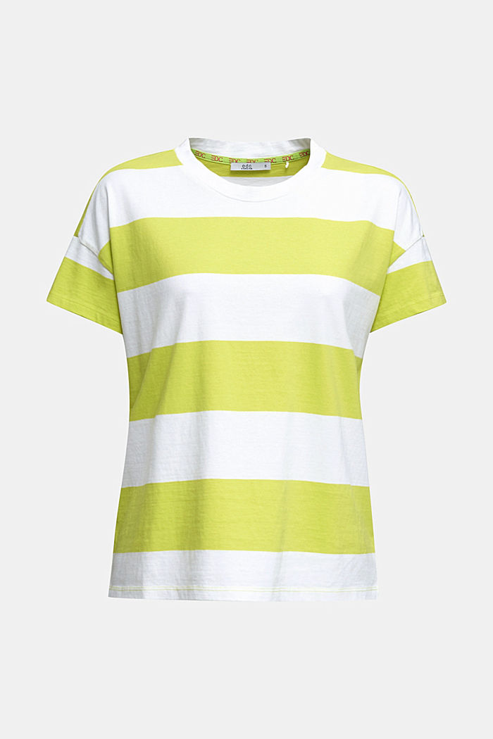 T-shirt with block stripes, 100% cotton, CITRUS GREEN, overview