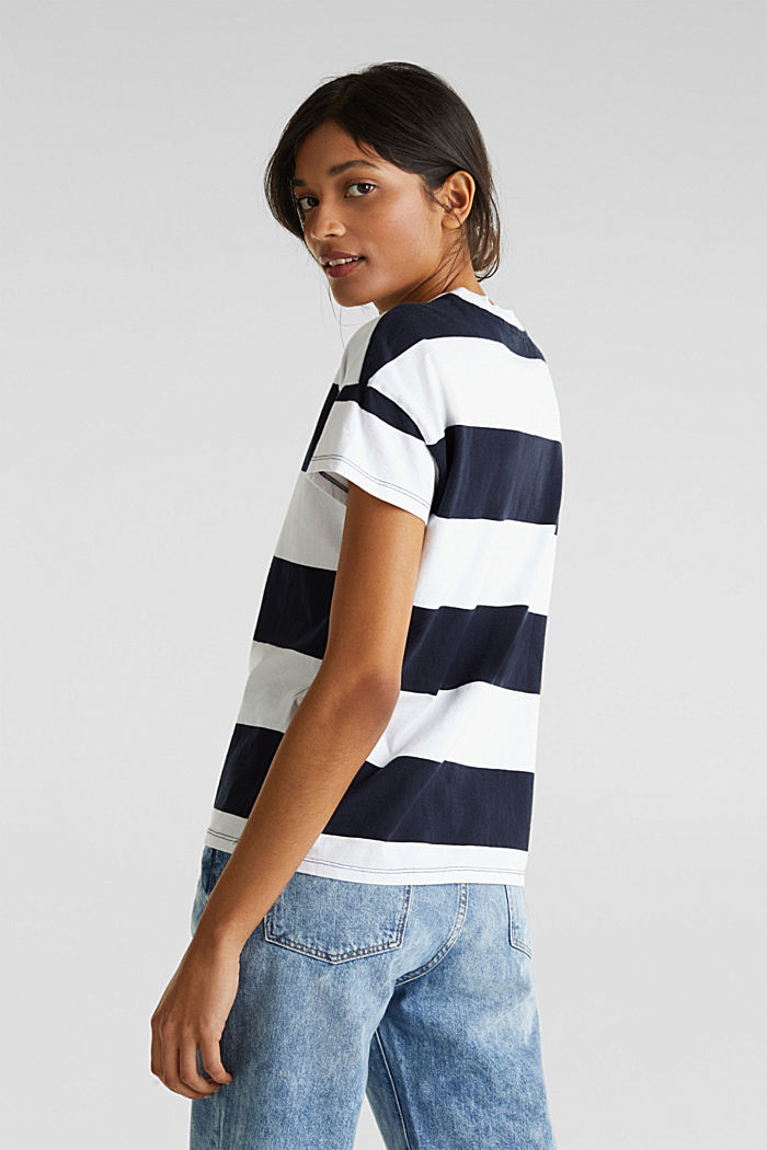 T-shirt with block stripes, 100% cotton, NAVY, detail image number 3