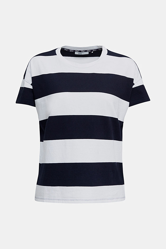 T-shirt with block stripes, 100% cotton, NAVY, detail image number 6