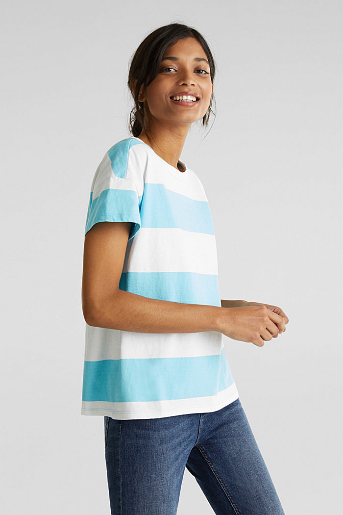 Shirt mit Blockstreifen, 100% Baumwolle, TURQUOISE, detail image number 0