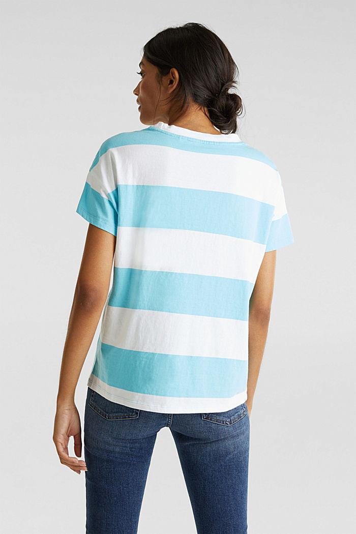Shirt mit Blockstreifen, 100% Baumwolle, TURQUOISE, detail image number 3
