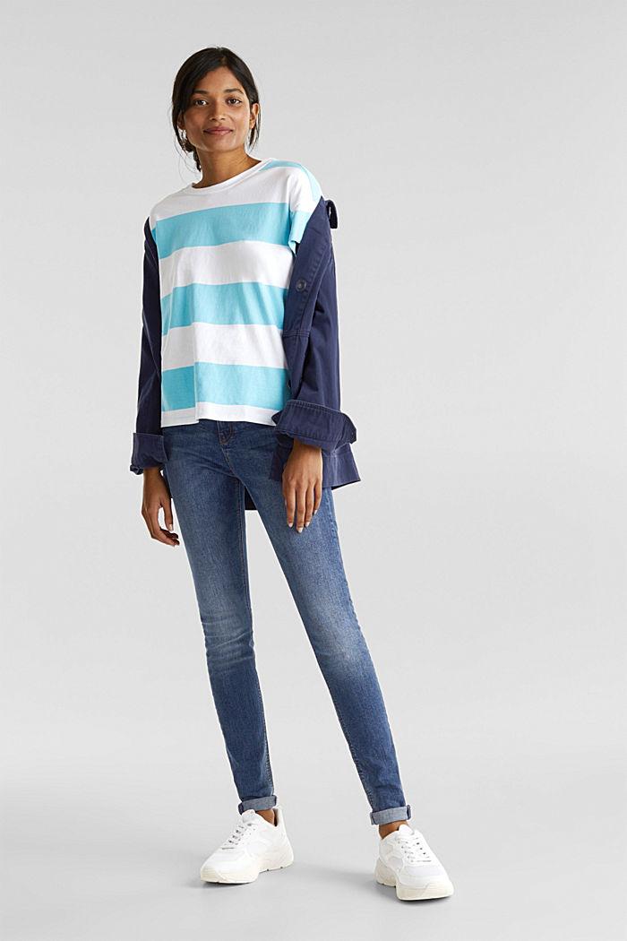 Shirt mit Blockstreifen, 100% Baumwolle, TURQUOISE, detail image number 1
