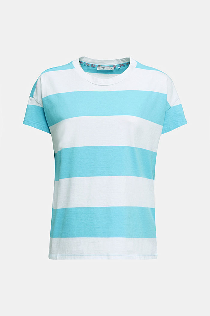 Shirt mit Blockstreifen, 100% Baumwolle, TURQUOISE, detail image number 6