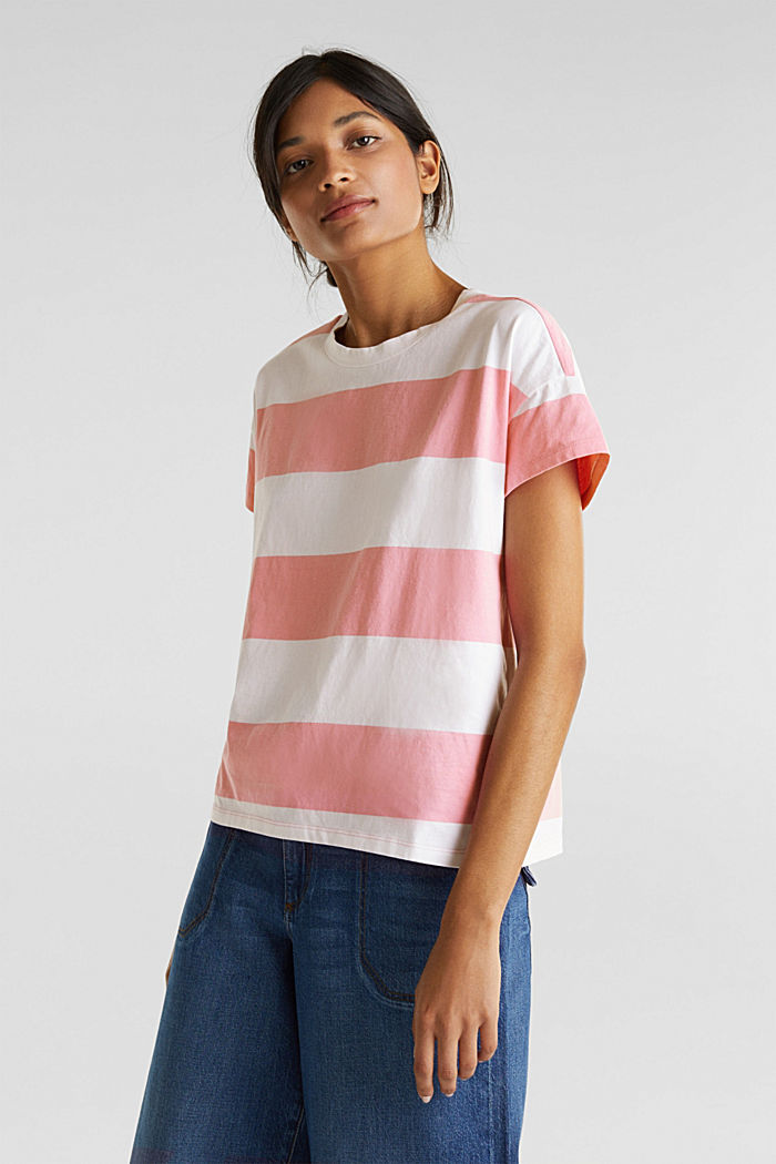 T-shirt with block stripes, 100% cotton, PINK, detail image number 0