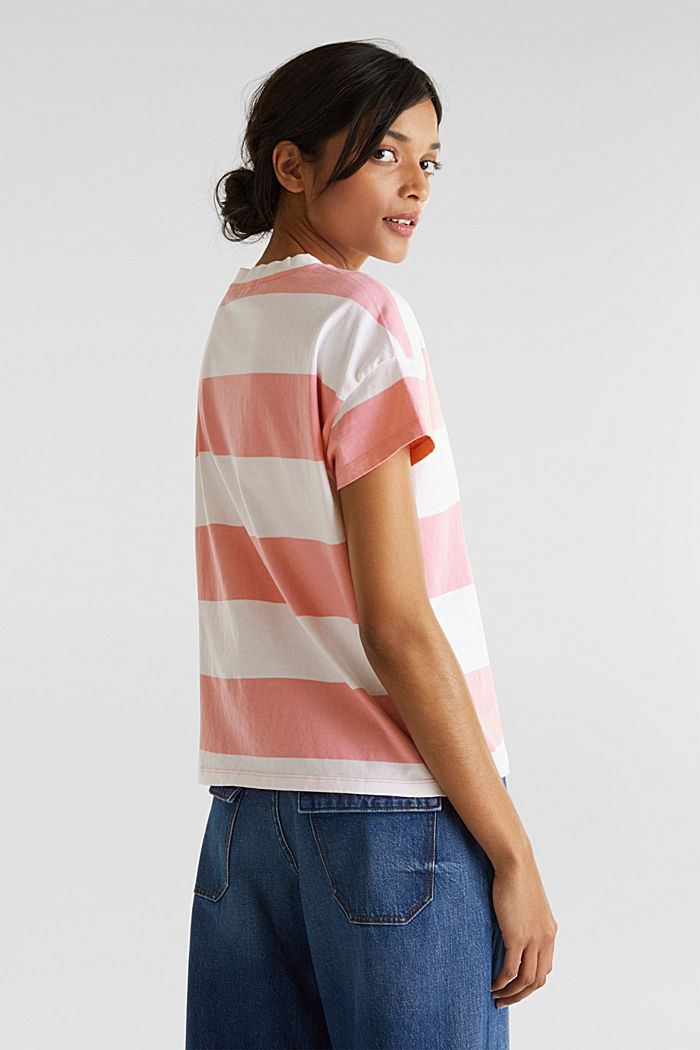 T-shirt with block stripes, 100% cotton, PINK, detail image number 3