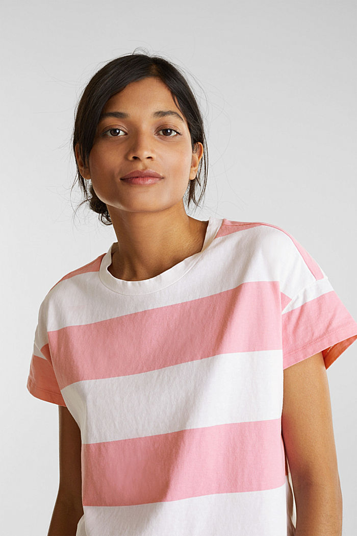 T-shirt with block stripes, 100% cotton, PINK, detail image number 5