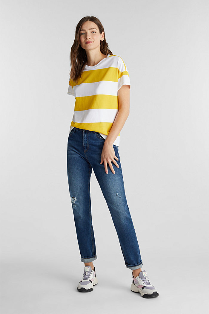 Shirt mit Blockstreifen, 100% Baumwolle, YELLOW, detail image number 1