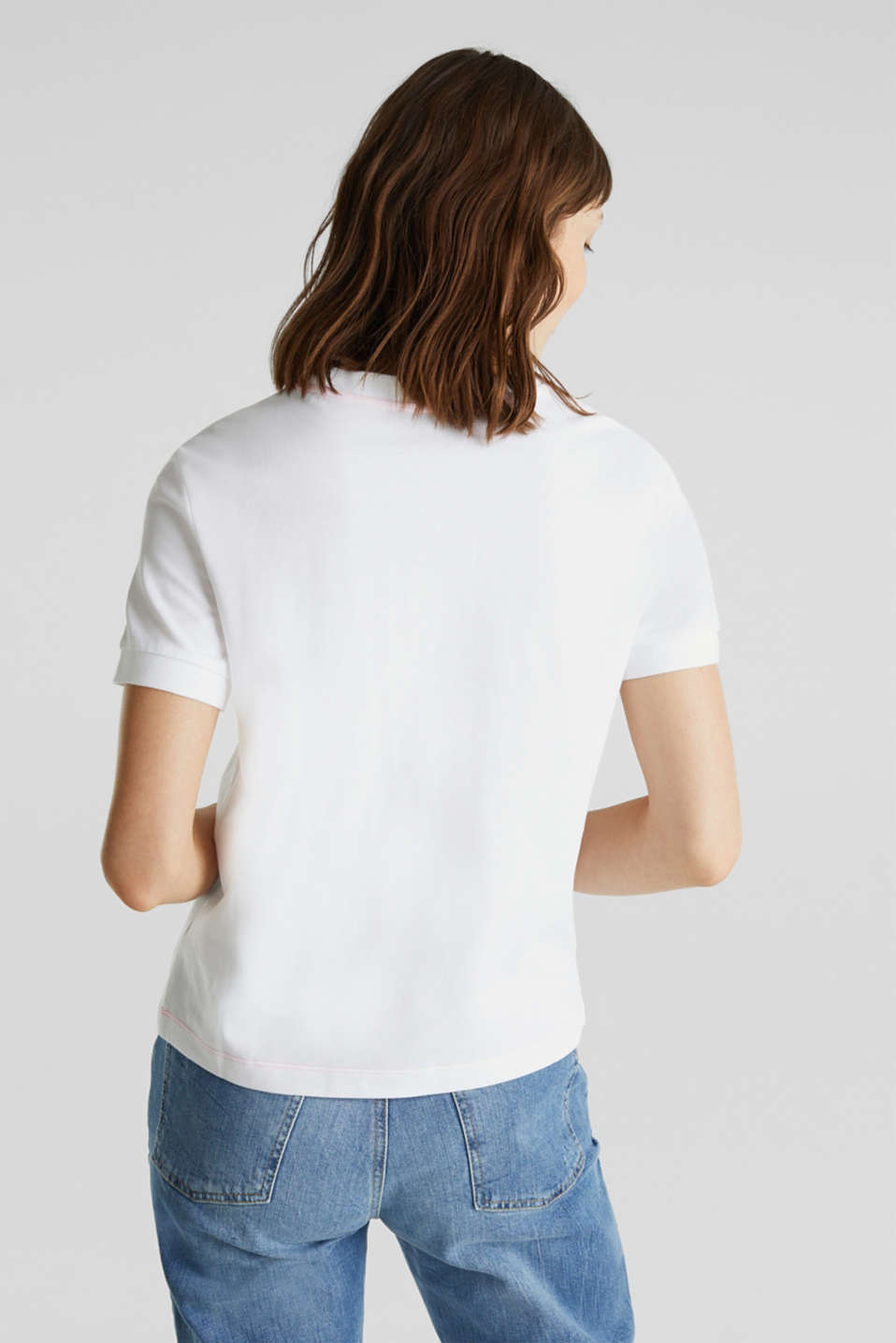 Piqué top, 100% cotton, WHITE, detail image number 3