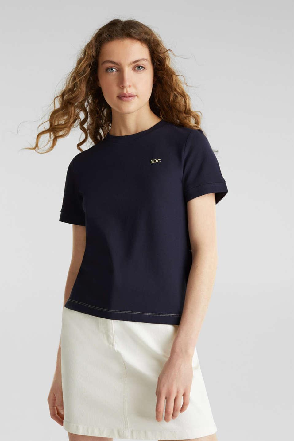 Piqué top, 100% cotton, NAVY, detail image number 0